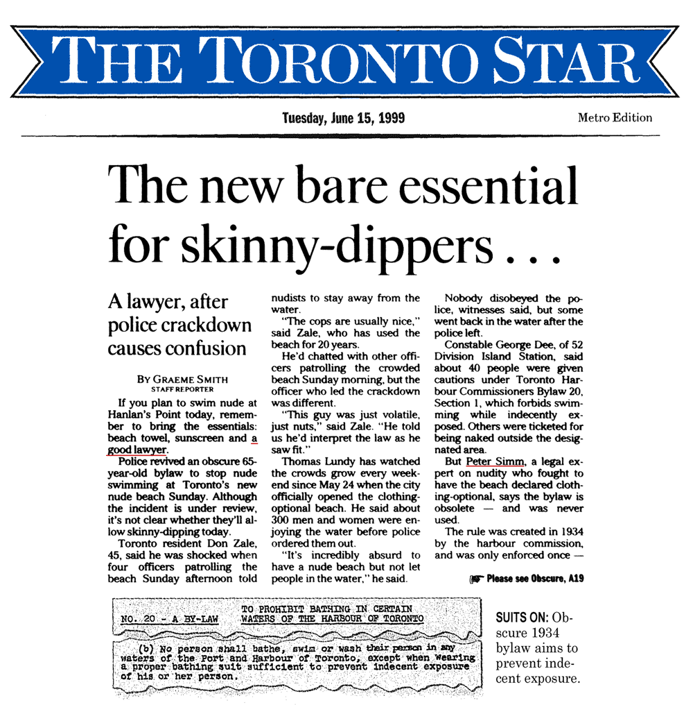 Toronto Star 1999-06-15  p.A1 (and A19) Police harass swimmers (who need